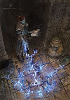 Destruction apprentice setting a lightning rune trap.