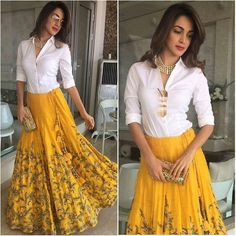 Yellow Lehenga Designs at Mirraw. Indian Gowns, Indian Attire, Indian Outfits, Lehenga Skirt, Lehnga Dress, Kurti Skirt, Anarkali Gown, Mode Bollywood, Bollywood Fashion