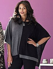 Bold colorblocking meets cozy comfort in this dramatic poncho. Designed for a flattering fit with a scoop neck and boxy drape, this versatile piece tops off so many looks with warmth and style. lanebryant.com