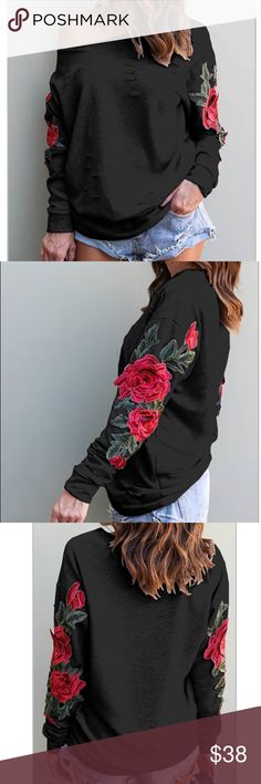 Off the Shoulder Sweat Shirt Thin Cotton Blend Sweat Shirt, Long sleeve, has embroidered Rose application to sleeves, raw off the Shoulder cut, cuts front and back, Brand New, Black, Size Medium Tops