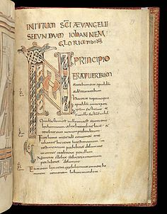 Description: Zoomorphic word 'IN' with bird heads and interlace, at the beginning of John.  Origin: France, W. (Brittany, or Tours?)http://www.bl.uk/catalogues/illuminatedmanuscripts/
