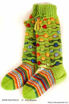 Wool Socks, Knitting Socks, Hand Knitting, Knitting Patterns, Multi Coloured Socks, Art Boots, Green Socks, Funny Socks, Crazy Socks