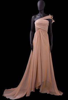 A-line One Shoulder Ruched Bodice Ruffling Details At Back Chiffon Evening Dress-soe0063, $176.95