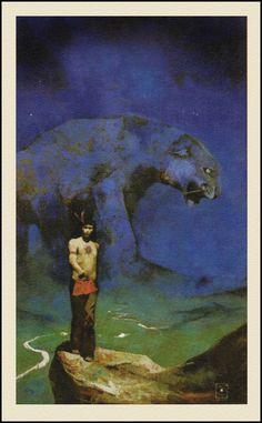 Jeffrey Jones — Tiger River — 1971 Pulp Fiction Art, Science Fiction Art, Fantasy Drawings, Fantasy Art, Conan The Barbarian Comic, J Jones, Horror Artwork, Horror Comics, Retro Futuristic