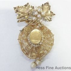 Southern Ladies Oak Tree Easter Bonnet 14k Gold Pearl Dangle Hat Pin Pendant #Pendant