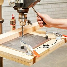 A drill press is a one-job tool right? But as is often the case with tools, many tinkering minds have come up with clever ways to use this shop staple. Beginner Woodworking Projects, Woodworking Jigs, Woodworking Drill Press, Carpentry Projects, Woodworking Workshop, Custom Woodworking, Craftsman Power Tools, Sanding Tips, Drill Press Table