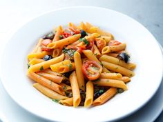 Red Pepper Penne with Cherry Tomato Puttanesca recipe from Rachael Ray via Food Network