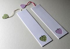 'Pastel Bookmarks' Pack of two Marque page Bookmark Craft, Diy Bookmarks, Crochet Bookmarks, Bible Bookmark, Heart Bookmark, Book Making, Card Making, Diy Marque Page, Diy And Crafts