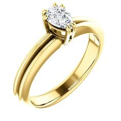 0.50 Ct Pear Ring 14k Yellow Gold