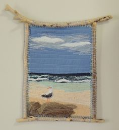 """Items similar to Textile Art Quilt, """"Seagull Dreaming"""" , fabric stitched art piece thread painted, driftwood frame on Etsy Ocean Quilt, Beach Quilt, Hessian Crafts, Blog Art, Landscape Art Quilts, Fabric Postcards, Bird Quilt, Flower Quilts, Weaving Projects"""