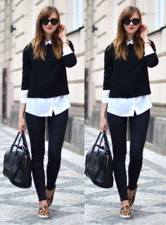 Love the sweater over the blouse.