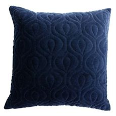 Navy Quilted Velvet Cushion 50cm-cushions-cravehome