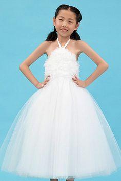 White Tulle Halter Flower Girl Dresses - Order Link: http://www.theweddingdresses.com/white-tulle-halter-flower-girl-dresses-twdn1107.html - Embellishments: Flower , Ruched; Length: Floor Length; Fabric: Tulle; Waist: Natural - Price: 74.09USD
