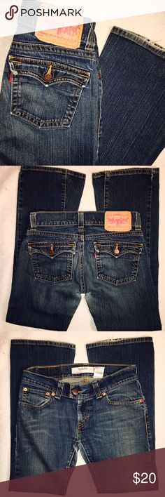 """Levi's slouch jeans Levi's slouch jeans-504. Bootcut. Good used condition. No stains. Mild fraying on back hem. Size 9. Waist laying flat 16"""". Rise 8"""". Inseam 31"""". Levi's Jeans Boot Cut"""