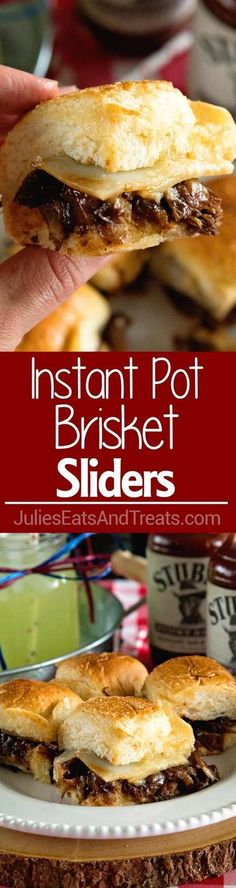Instant Pot Brisket Sliders with Caramelized Onions ~ Tender, Shredded Brisket Cooked in Your Instant Pot. Stuffed into Sliders Then Topped with Caramelized Onions and Cheese! Perfect Finger Food for Parties! ~ More homemade and made from scratch recipes from @julieseats