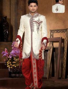 Royal Off White Brocade Art Silk Readymade Indo Western
