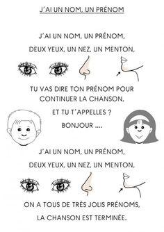 """""""J'ai un nom, un prénom, deux yeux, un nez, un menton"""" -- comptine illustrée -- http://youtu.be/FYQ0selTz4g"""