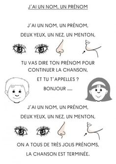 """""""J'ai un nom, un prénom, deux yeux, un nez, un menton"""" -- comptine illustrée…"""