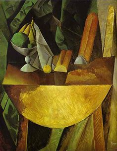Pablo Picasso - Bread and Fruit Dish on a Table - 1909