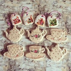 Teapot cup and saucer and tea bags sugar cookies ... #yyc #yyccookies…
