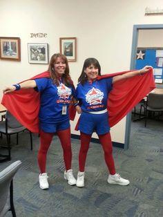 Our Asst Principal and Principal .... Boosterthon Wonder Twins!