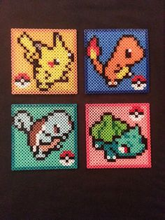These perler bead designs can be made into either magnets or coasters, your choice! The magnets will be just the pokemon without a background, Perler Bead Designs, Perler Bead Templates, Hama Beads Design, Melty Bead Patterns, Pearler Bead Patterns, Perler Patterns, Beading Patterns, Pokemon Perler Beads, Diy Perler Beads