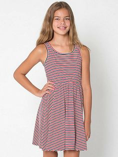 Striped Youth Skater Dress   American Apparel