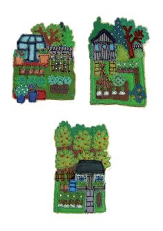 Janet Browne Textiles - Allotments, gardens and hens Free Motion Embroidery, Hand Embroidery, Machine Embroidery, Cross Stitch Embroidery, Art Tribal, Fabric Brooch, Fabric Postcards, Creative Textiles, House Quilts