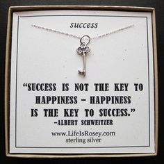 QUOTE CARD - KEY TO SUCCESS - Sterling Silver Charm Necklace - A LIFE IS ROSEY Original