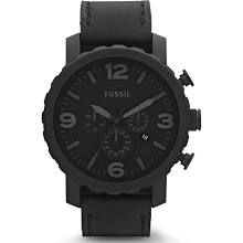 Fossil Nate Chronograph - JR1354 - Black Dial - Black Stainless Steel Case - Black Leather Band