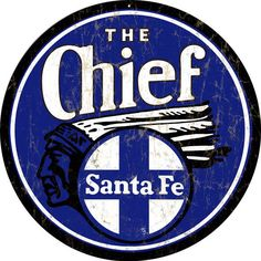 The Chief Santa Fe Railroad Sign, Aged Style Aluminum Metal Sign, USA Made Vintage Style Retro Garage Art RG1050 by HomeDecorGarageArt on Etsy
