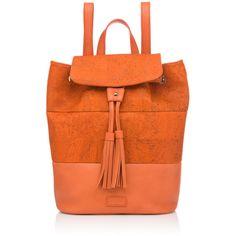 Pelcor - Bali Backpack Orange ($165) ❤ liked on Polyvore featuring bags, backpacks, orange bag, strap backpack, pelcor, orange backpack y cork bag