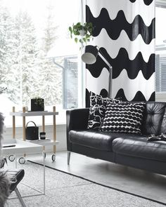 Living room in. Living Room Furniture, Living Room Decor, Living Spaces, Marimekko, Lowrider, Steps Design, Black And White Interior, White Home Decor, White Houses