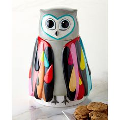Owl Cookie Jar ($69) ❤ liked on Polyvore featuring home, kitchen & dining, food storage containers, multi colors and owl cookie jar