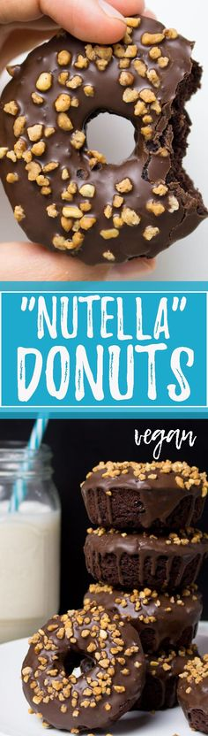 "These vegan donuts with chocolate and hazelnuts (aka ""Nutella"" donuts) are my absolute favorite! And the best thing is that they're way healthier than regular donuts! <3 