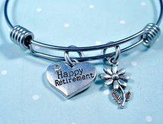 Happy Retirement Heart Charm  Daisy Flower Charm by DesignsBySuzze