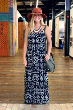 long tribal printed maxi dress