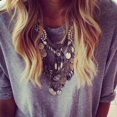 Layered necklace, detailed and chunky