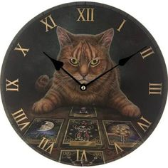 Puckator Decorative Fantasy Cat and Tarot Cards Wall Clock