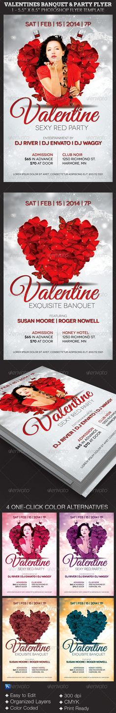 "Valentines Banquet and Party Flyer Template - $6.00 The Valentines Banquet and Party Flyer Template can be used for any party or events that needs a modern appeal. Great for red or white themed parties, Valentines and Christmas events. Can be used for Club Parties, Birthday Parties, Banquets, Tea Party, and more. This Photoshop Template is Easy To Edit. All you need to do is, ""Edit, Save, Print"""