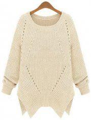 Apricot Long Sleeve Hollow Asymmetrical Sweater