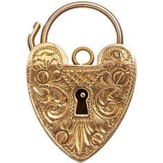 Annina Vogel Vintage Gold Engraved Heart Lock Charm