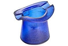 """1960s textured cobalt glass ashtray in the shape of a top hat. Hat size: 3"""" L x 2.5"""" W x 2.5"""" H."""