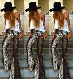 Love these printed flare pants Moda Hippie Chic, Estilo Hippie Chic, Hippy Chic, Trousers Women, Pants For Women, Clothes For Women, Bell Bottom Pants, Bell Bottoms, Summer Office Outfits
