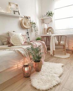 Boho Bedroom Decor Ideas For a Room Makeover « Cute Bedroom Ideas, Cute Room Decor, Room Ideas Bedroom, Ikea Bedroom, White Bedroom, Bedroom Inspo, Bedroom Inspiration, Girls Bedroom, Bedroom Furniture
