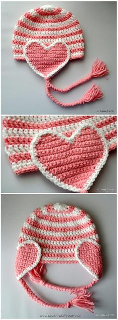 Baby Knitting Patterns Crochet Valentine Heart Earflap Hat...