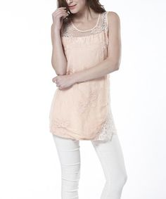 Look at this #zulilyfind! Pink Lace-Panel Sleeveless Top by Simply Couture #zulilyfinds