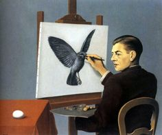 La Clairvoyance (Clairvoyance), 1936, by  Art Institute of Chicago. Magritte paints himself painting his perception of the future. The artist is painting more than what is right in front of him: he is painting the possibility, the potential, the future.