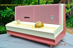 BLUETOOTH MP3 Ready - Awesome Pink And Black Retro Vintage 1957 Emerson 851 AM Tube Radio Totally Restored! by RetroRadioFarm on Etsy