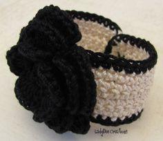 Flower Crochet Bracelet / Cuff Bracelet  by LadyDeeCreations, $8.00